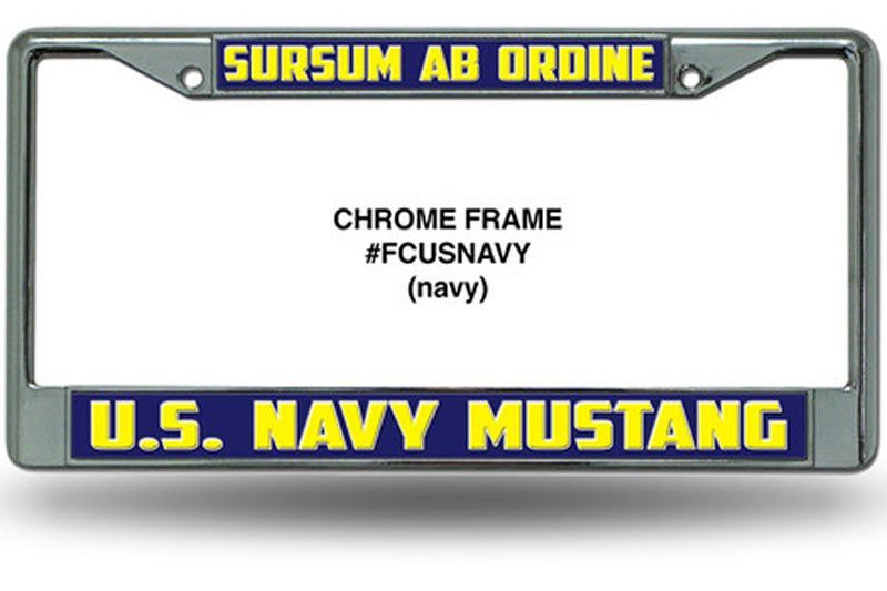 Chrome Mustang License Plate Frame | U S  Navy Limited Duty
