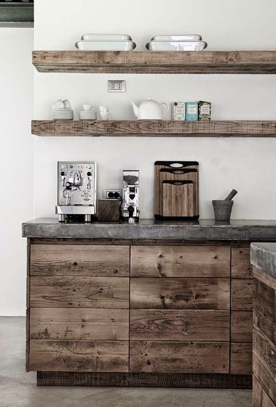 What a beautiful, rustic look. This can be achieved with rough cut pine and the right stain application. The concrete top, on the other hand, is best left to professionals. www.kbchome.ca:
