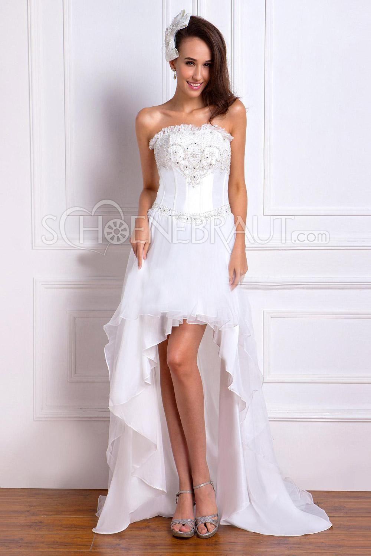 Asymmetrisch Zierperlen Organza Hochzeitskleider mit Kurz-Schleppe