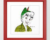 Disney's Peter Pan Minimalist Art 12x12-Professional Metallic Print - Disney Home Decor, kids room, Neverland Art