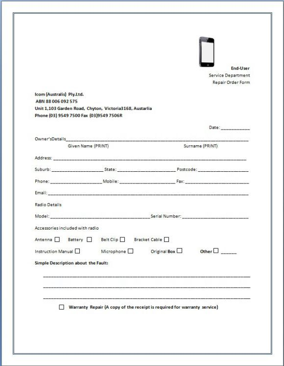 Cellphone Repair Invoice Service Cellphone Repair Invoice Template