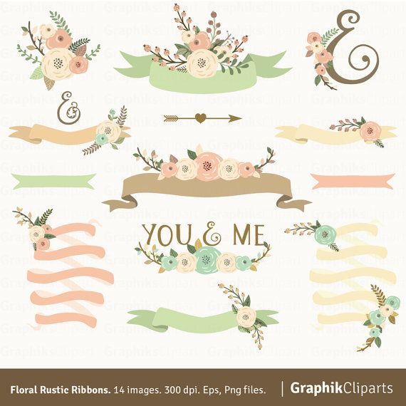 Floral Rustic Ribbons Flowers Arrows Wedding Clipart
