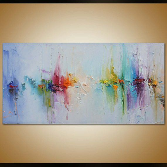 Photo of Contemporary art, abstract painting, original art, canvas painting, landscape painting, canvas wall decor, abstract canvas art, rainbow colors