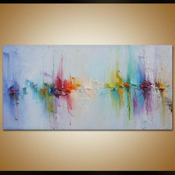 Zeitgenössische Kunst, abstrakte Malerei, Original-Kunst, Leinwand Gemälde Landschaft Malerei, Leinwand-Wand-Dekor, abstrakte Leinwand Kunst, Regenbogen-Farben #woodenwalldecor