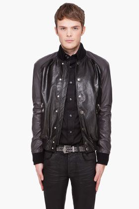 PIERRE BALMAIN Black Leather Bomber Jacket