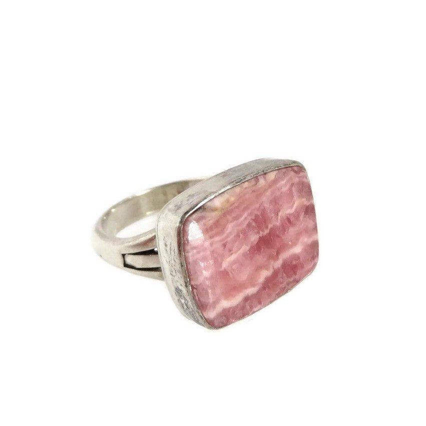 Pink Rhodochrosite Sterling Silver Ring, Vintage