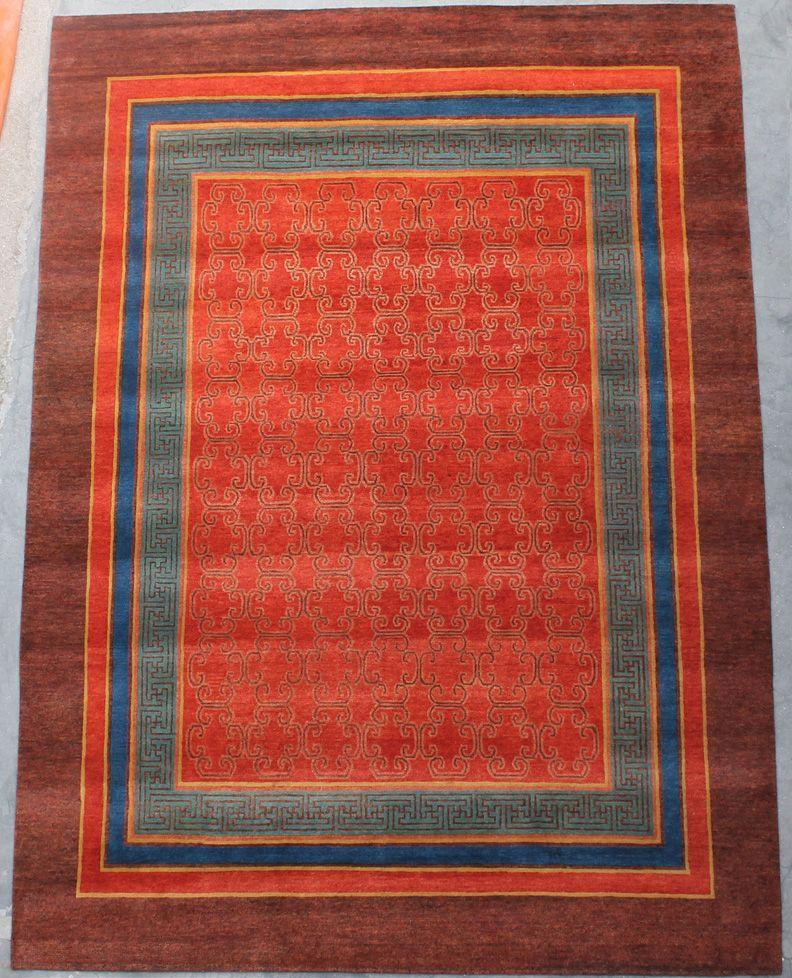 Handmade Area Rug By Tibetan People Living In Nepal. The