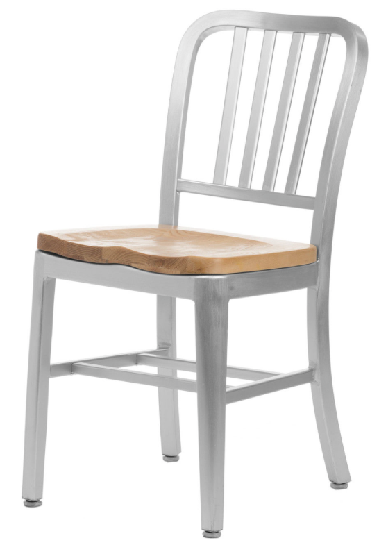 brushed aluminum dining chairs restaurant wood seat commercial modern navy chair often referred to as