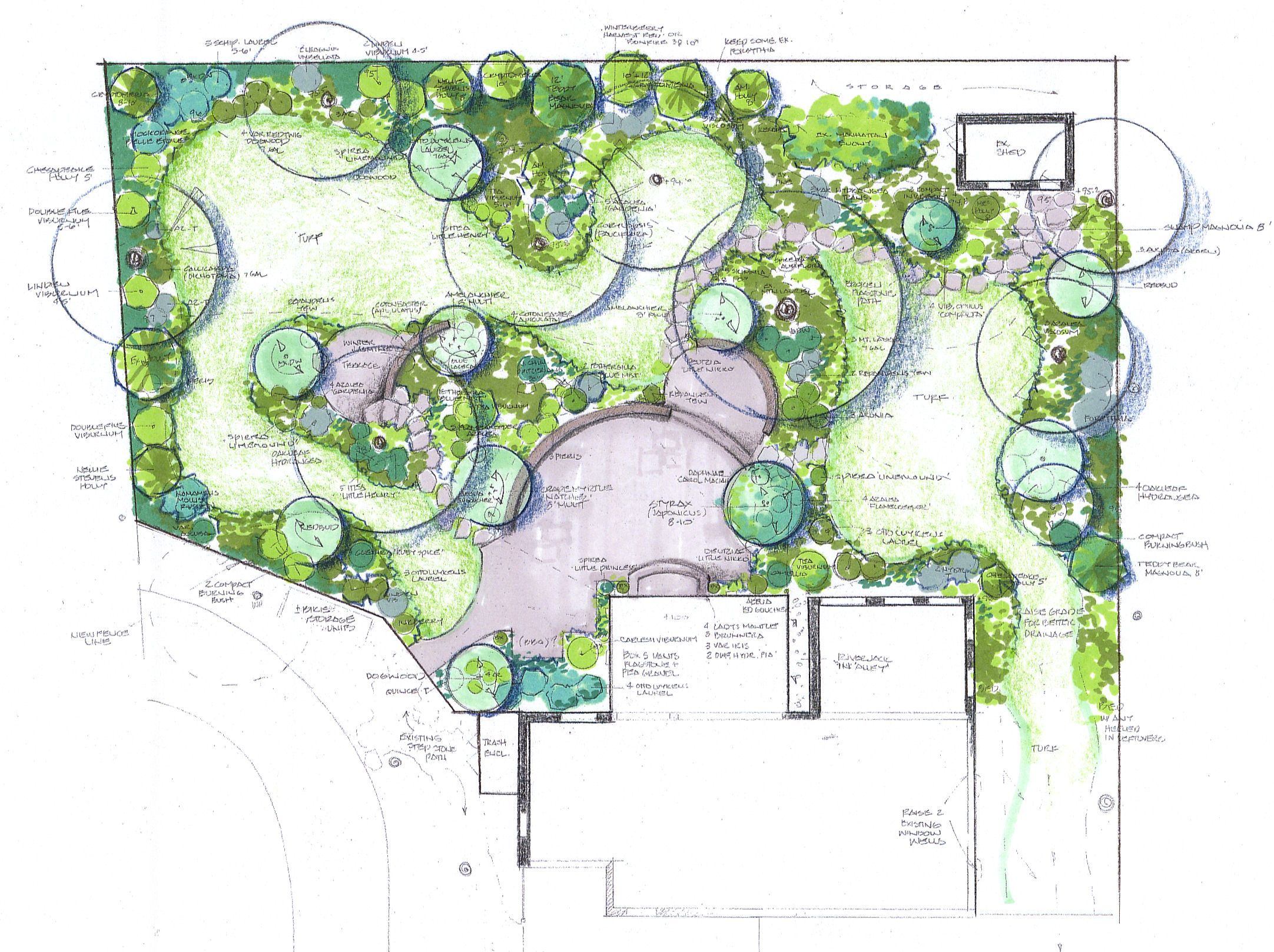 Inspiring landscape patio designs living gardens va md and for Garden landscape drawing