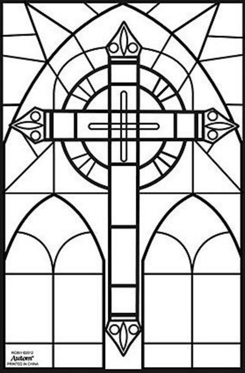 stained glass cross coloring pages | A-a Work, Crosses | Pinterest ...