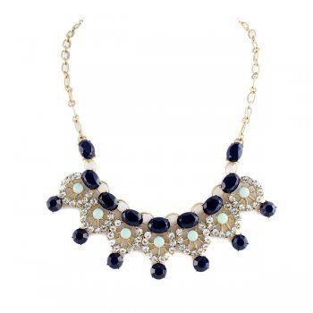 Colorful Rhinestone Beads Hollow Out Flower Choker Necklace