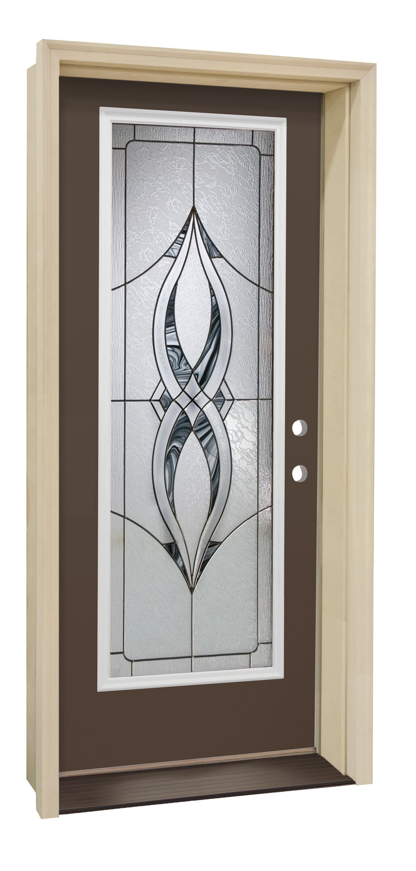 Improve your entryway with the fabulous Kenton Steel Door! This stunning Burnished Slate door makes a statement with its sweeping glass pattern and strong bronze accents.