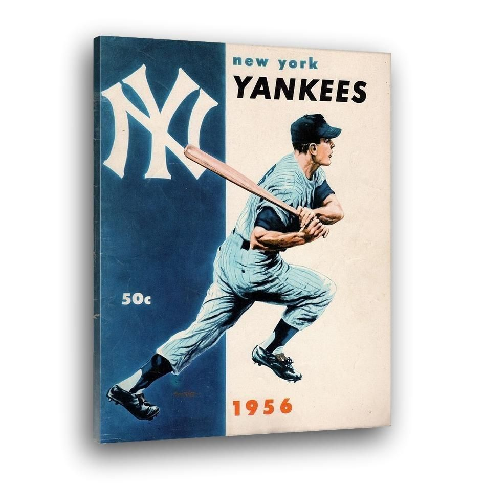1956 New York Yankees Yearbook Canvas Art By Coolstub The 56 Yankees Were World Series Champions And Defeated The Brookly Canvas Art Canvas New York Yankees