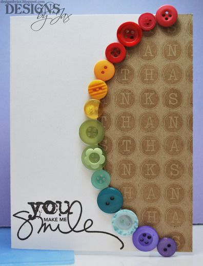 great idea for using up the bottons I have been saving...rainbow thank you card