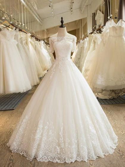 Beautiful Wedding Dresses Off The Shoulder Ball Gown Lace Ivory