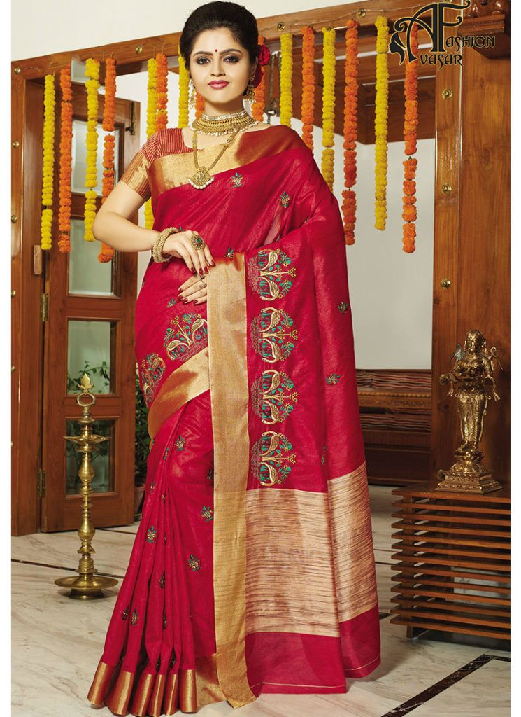 Buy Tussar Silk Saree Online India Embroidered Sarees Pinterest