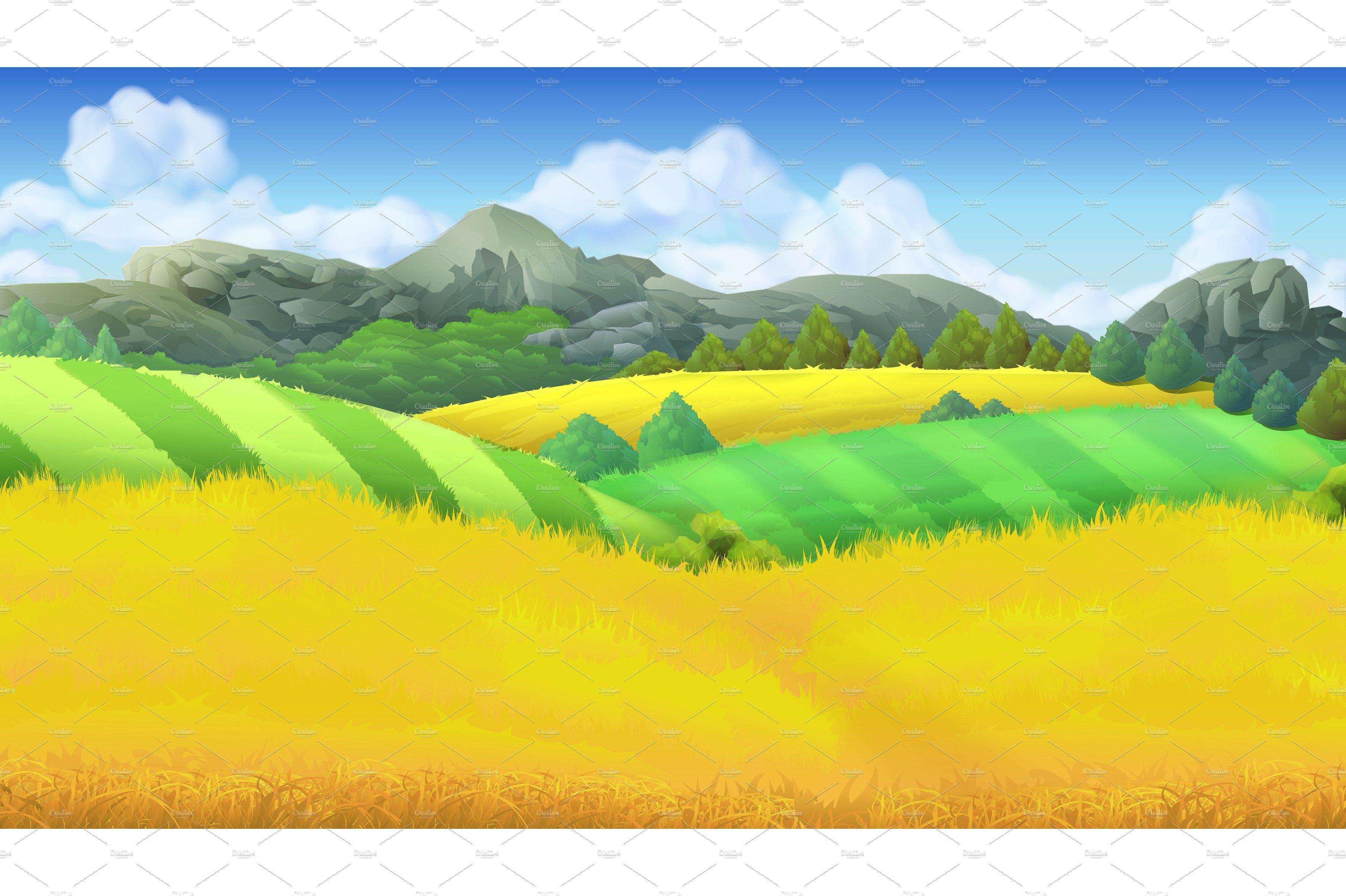 Farm landscape, fields background Vector background