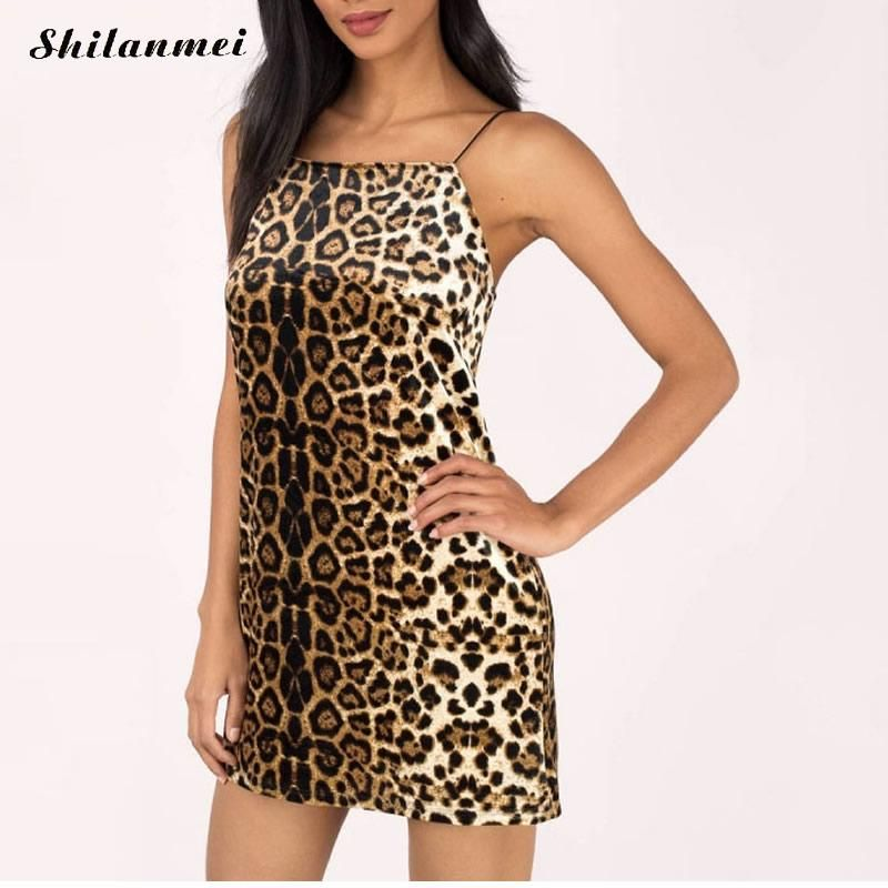 Sexy party club A-line mini dress leopard printed backless spaghetti  striped sleeveless mini dresses punk casual Slip Dress 39cc918d7