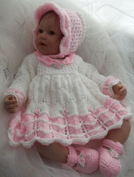 Photo of A Baby Knitting Pattern Girls or Reborn Dolls Scalloped Dress, Bonnet & Booties Download Knitting Pattern PDF