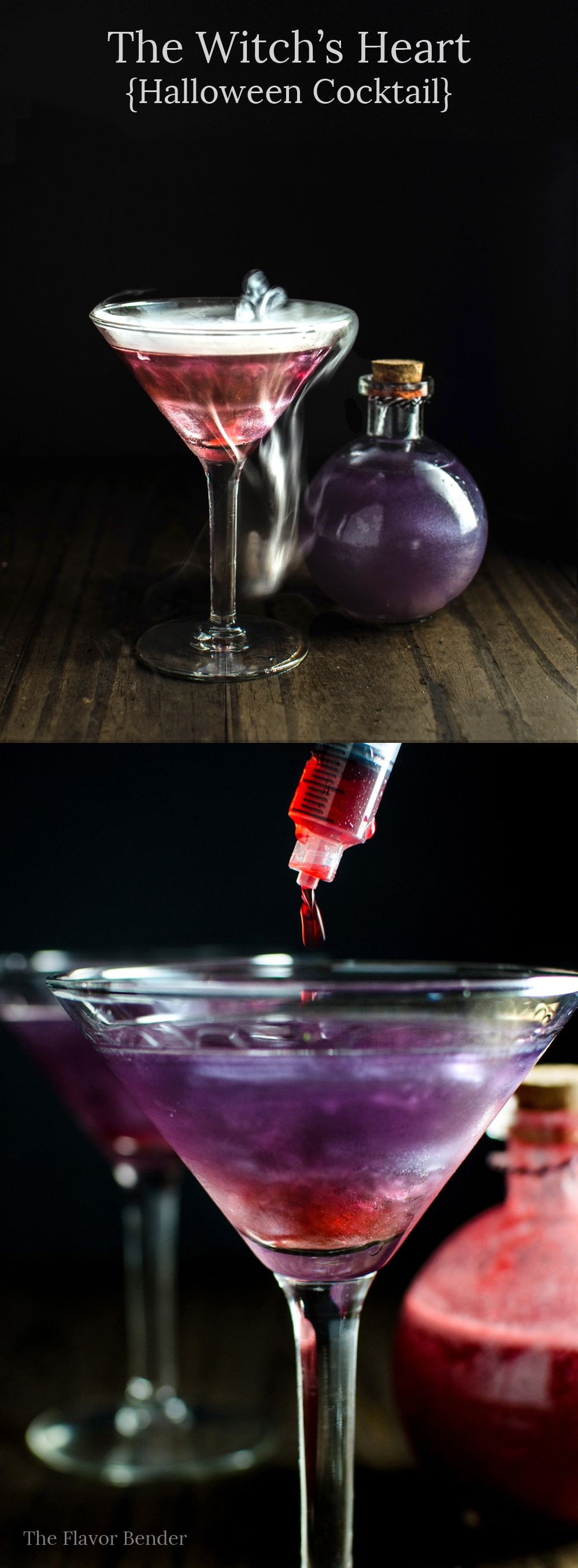 The witch 39 s heart this shimmery purple and red cocktail for Easy alcoholic party drinks