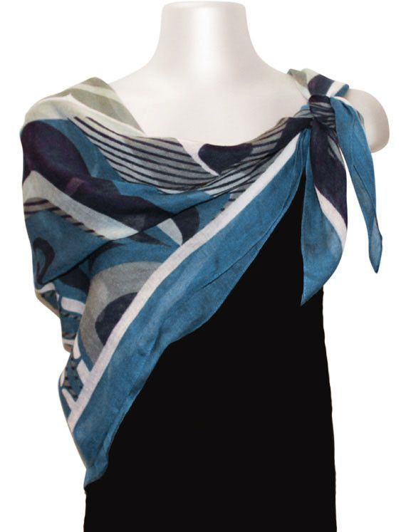 The Pod Square Polyester Semi-Sheer Lightweight Scarf designed by Trevor Angus, Gitxsan