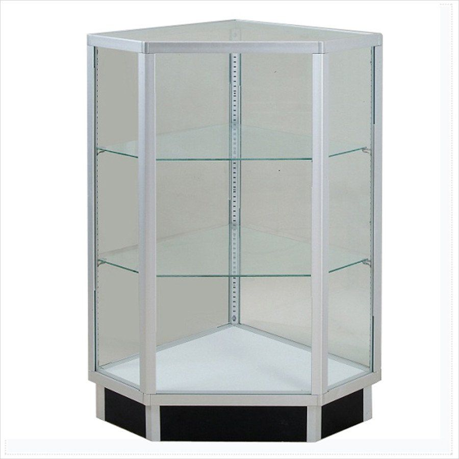 Commercial Display Cases Pentagon Extra Vision Corner Display Case