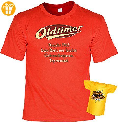 Geburtstags-Jahrgangs-Fun-Shirt-Set inkl. Mini-Shirt/Flaschendeko: Oldtimer Baujahr 1965 - geniales Geschenk (*Partner-Link)