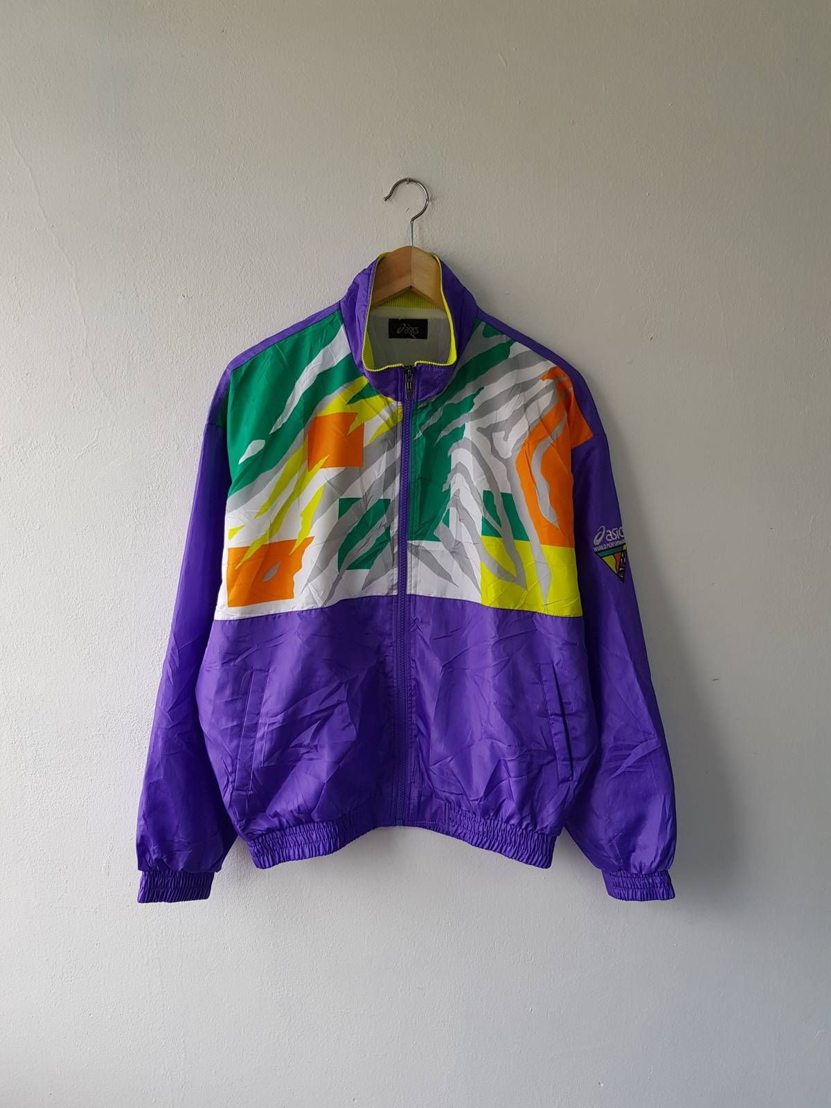 Buy Asics Vintage 90s ASICS Colorful Lightweight Windbreaker ...