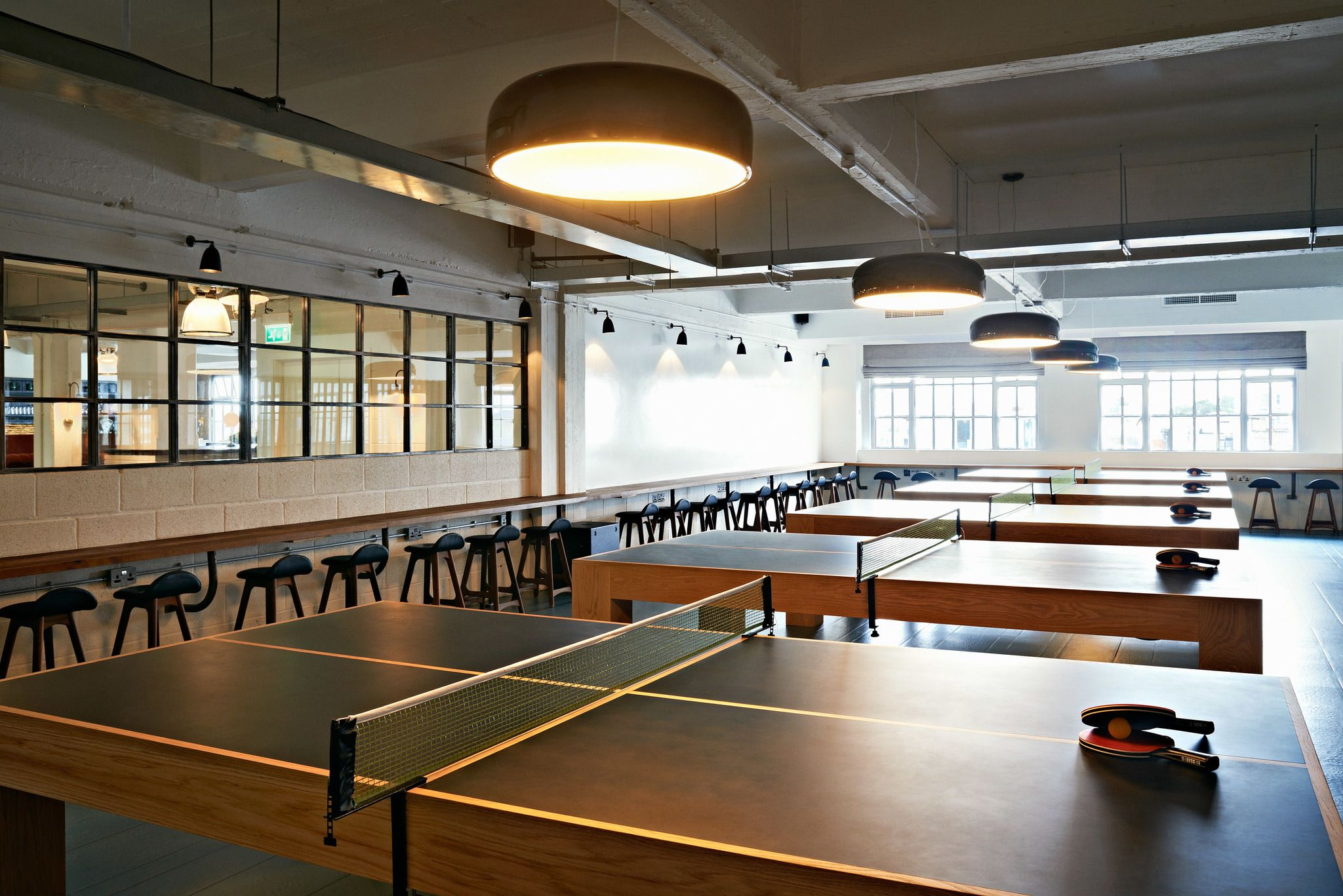 Shoreditch house game room work space can turn into ping pong table office pinterest - Space needed for a ping pong table ...
