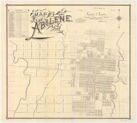 Map Of Abilene Texas 1885 By Texasmaps On Etsy 35 00 Abilene Texas Abilene Texas