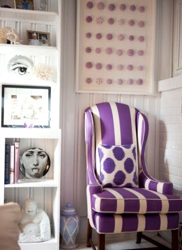 Purple room and urchins.  I love this chair and pillow.