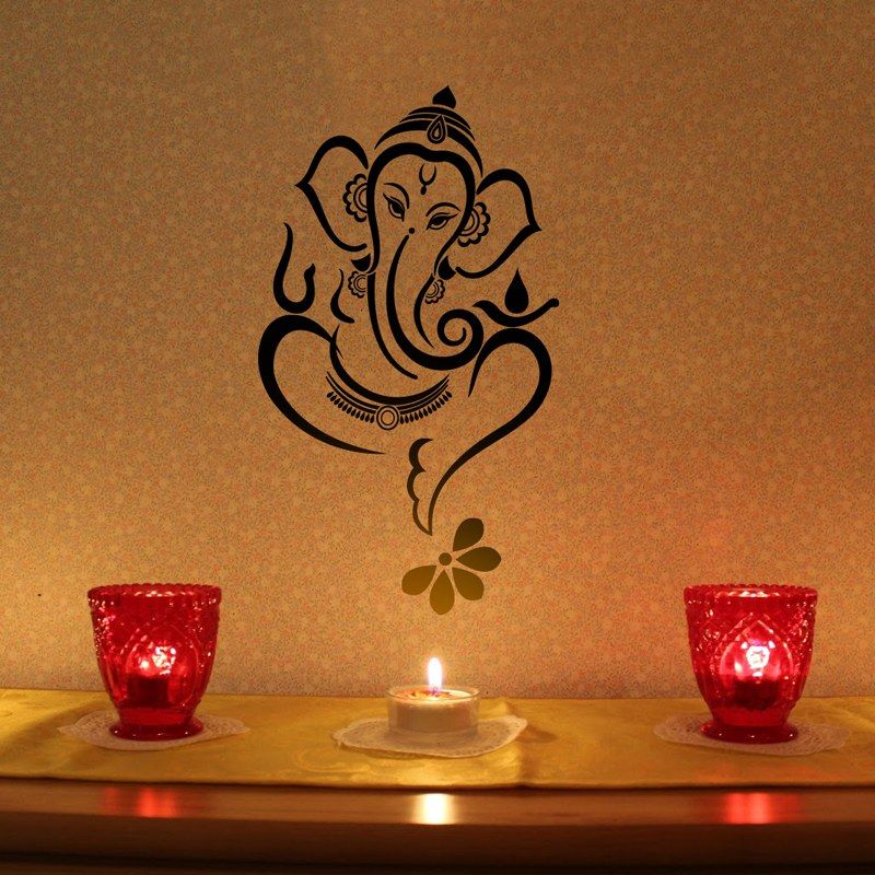 floral ganesha - wall decal - black-home decor- | abstrect painting