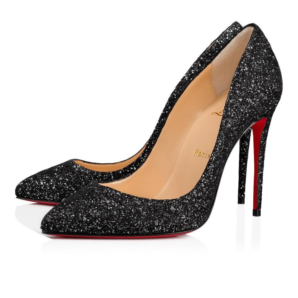 superior quality cdc40 0661c NIB Christian Louboutin Pigalle Follies 100 Black Glitter ...