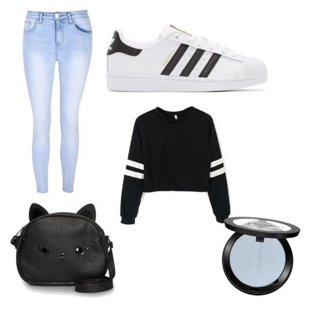 """""""blak and white"""" by emsogar ❤ liked on Polyvore featuring Glamorous, adidas Originals, Loungefly and Sephora Collection"""