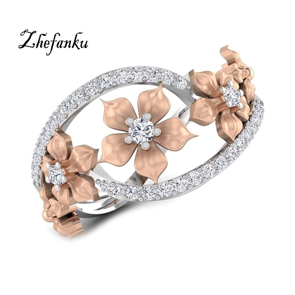 Natural rose flower wedding ring solid rose goldcolor ring bridal