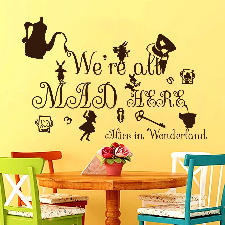 Quote Wall Decals Alice in Wonderland Decal Vinyl Stickers Nursery ...