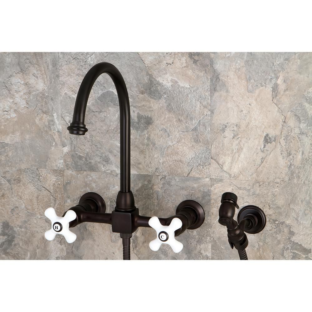 Kingston Brass Restoration 2 Handle Wall Mount Standard Kitchen Faucet With Side Sprayer In Oil Rubbed Bronze Hks129 Kitchen Faucet Kitchen Handles Wall Faucet