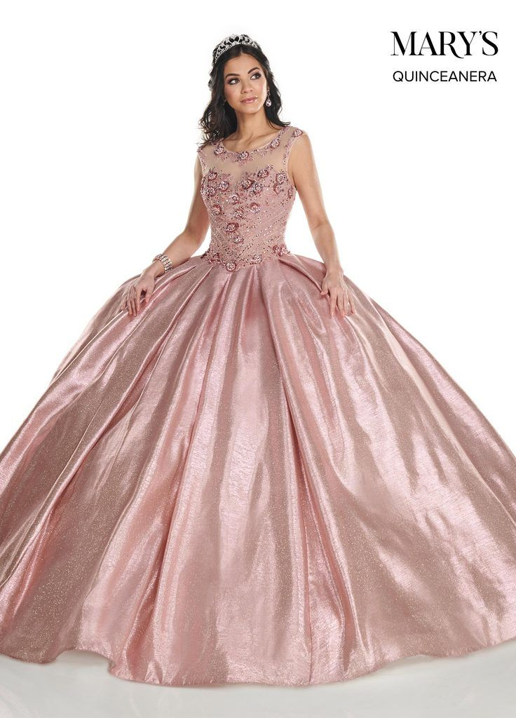 Shimmer Glitter Cap Sleeve Quinceanera Dress by Mary's Bridal MQ2090
