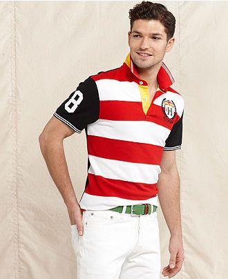 fbf282c1 Tommy Hilfiger Shirt, Pieced Stripe Slim Fit Polo Shirt - Macy's ...
