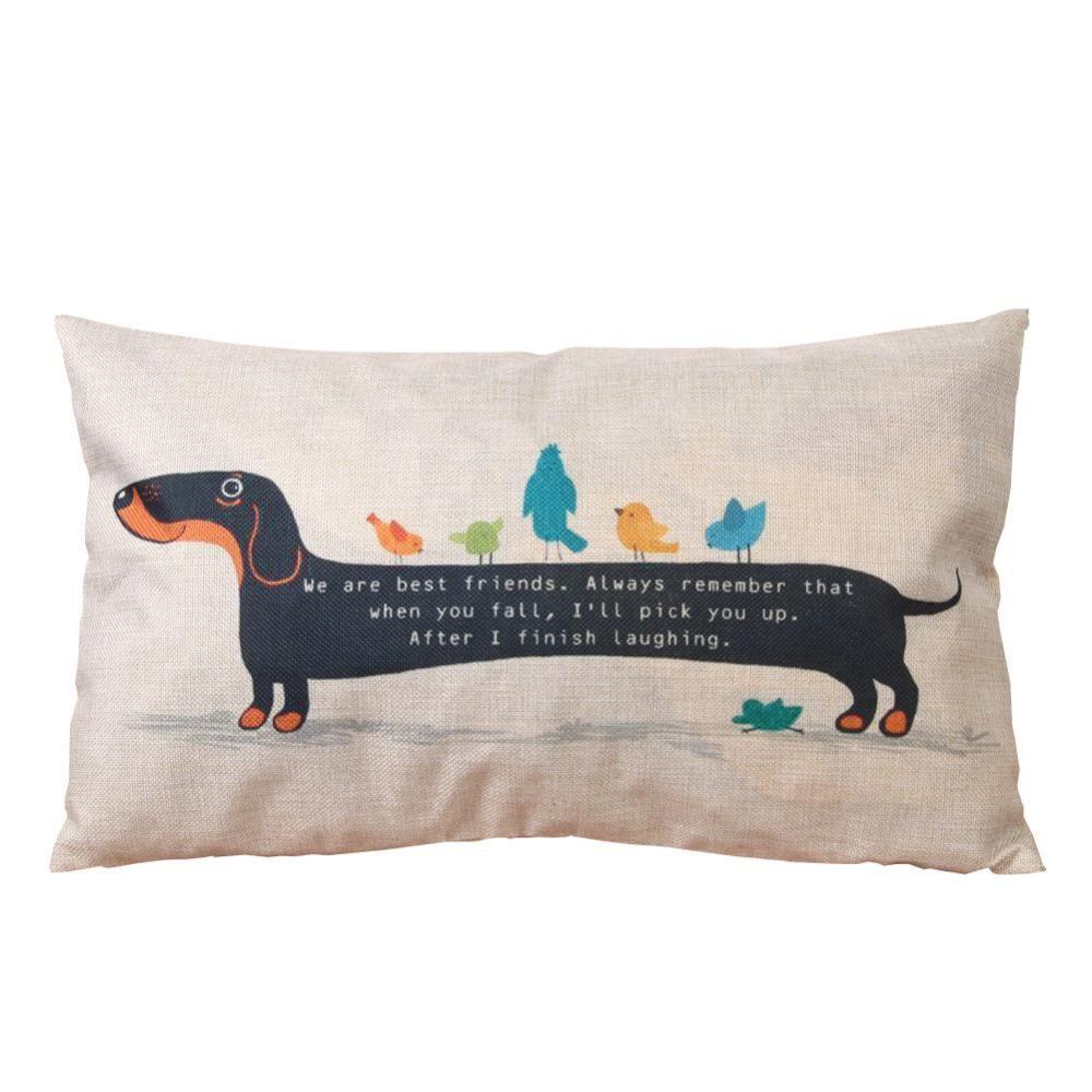 Visit to Buy] 17cm*17cm Dachshund Cushion Cover Throw Cartoon ...