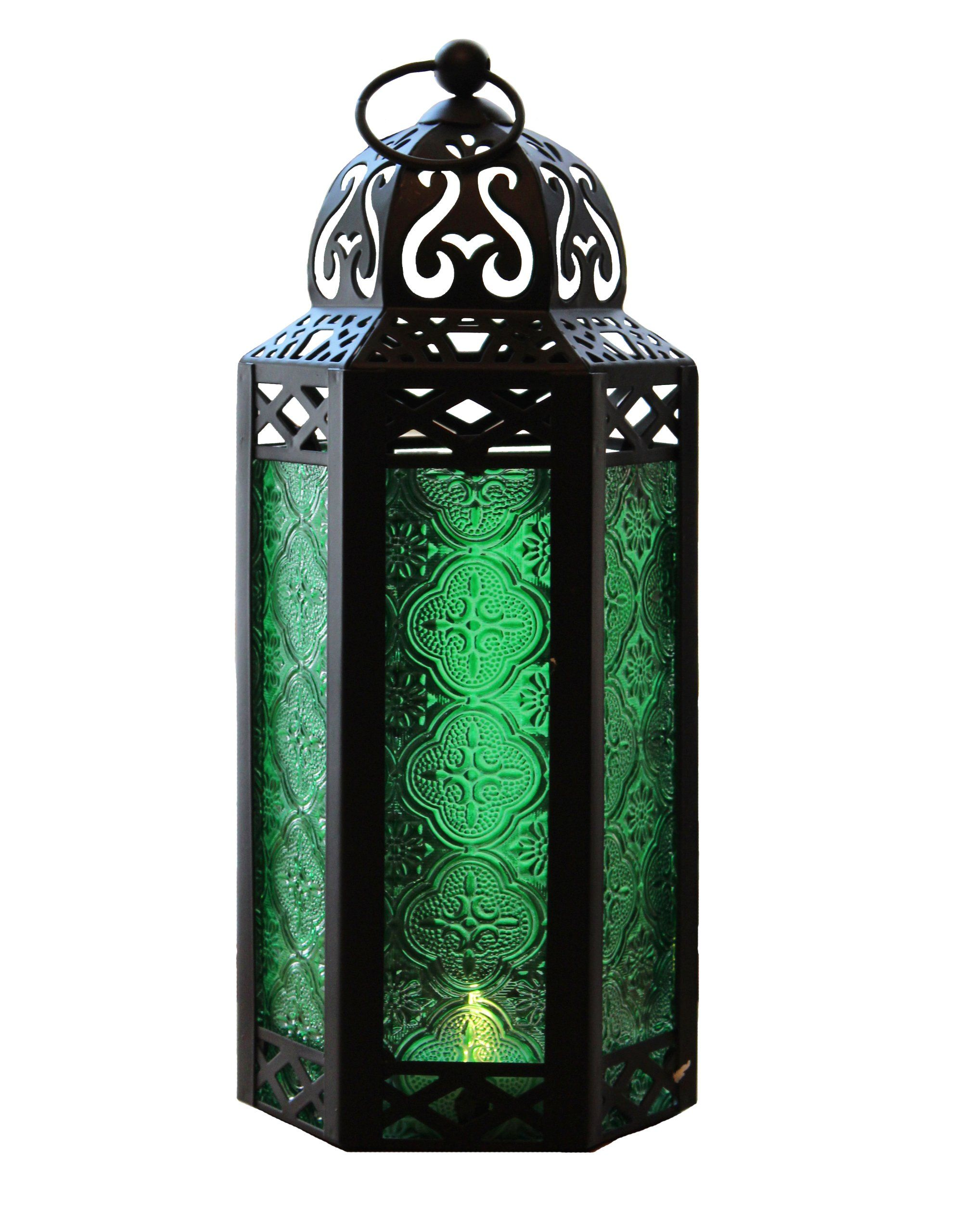Mid size green tablehanging hexagon moroccan candle lantern holders