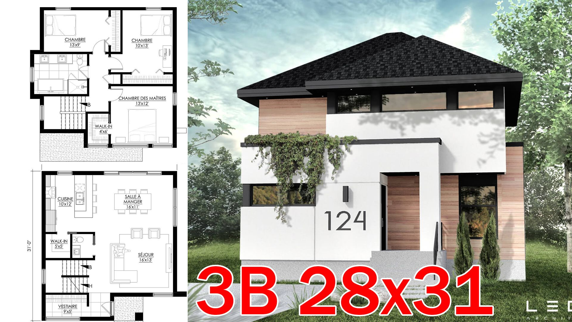 Modern house boutique 28x31ft | Small modern home, Small house ...