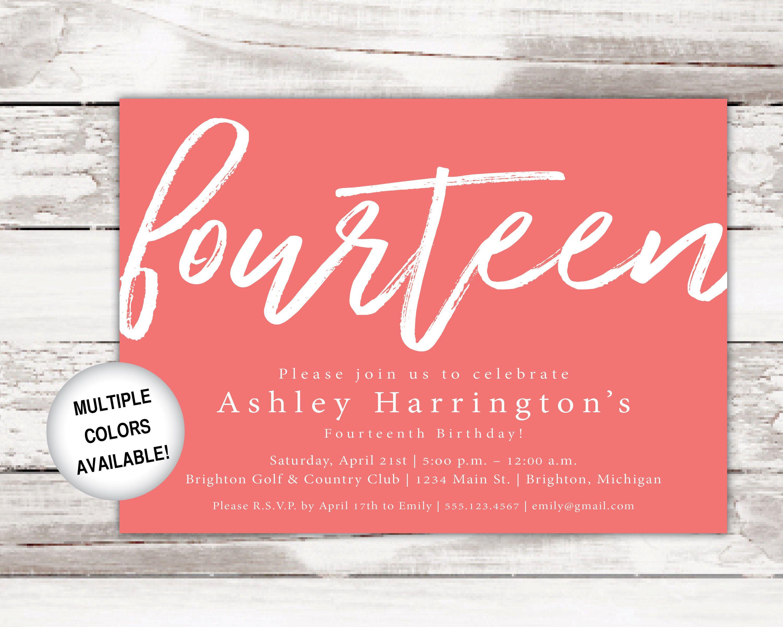 Birthday Invitations Printable | Fourteenth Birthday Party Invitations Template | Printable 14th Birthday Invites | Birthday Invitation