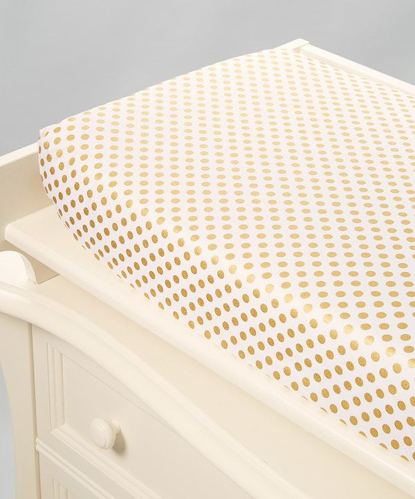 Look at this White & Gold Dot Cotton Changing Pad Cover on #zulily today!