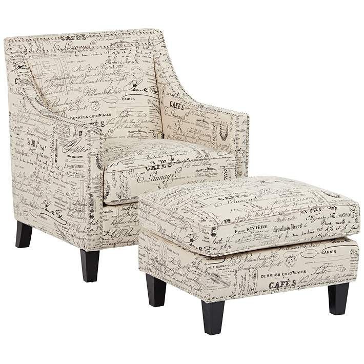 Erica Script II Fabric Armchair And Ottoman Set