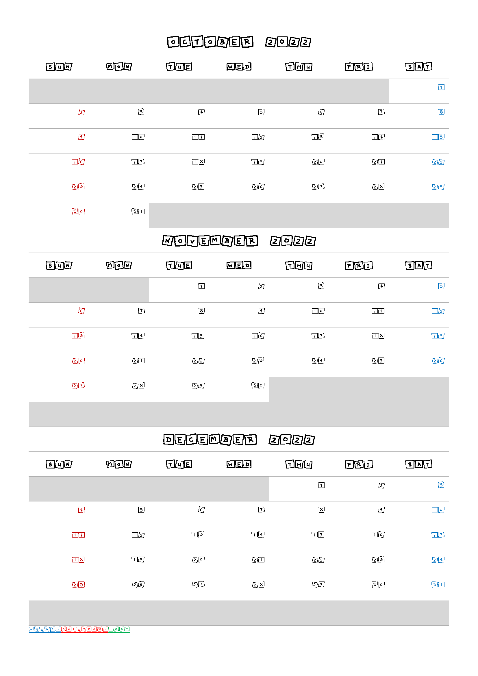 Q3 2021 Calendar Free Calendar October November December 2022 [Q1 Q2 Q3 Q4] in 2020