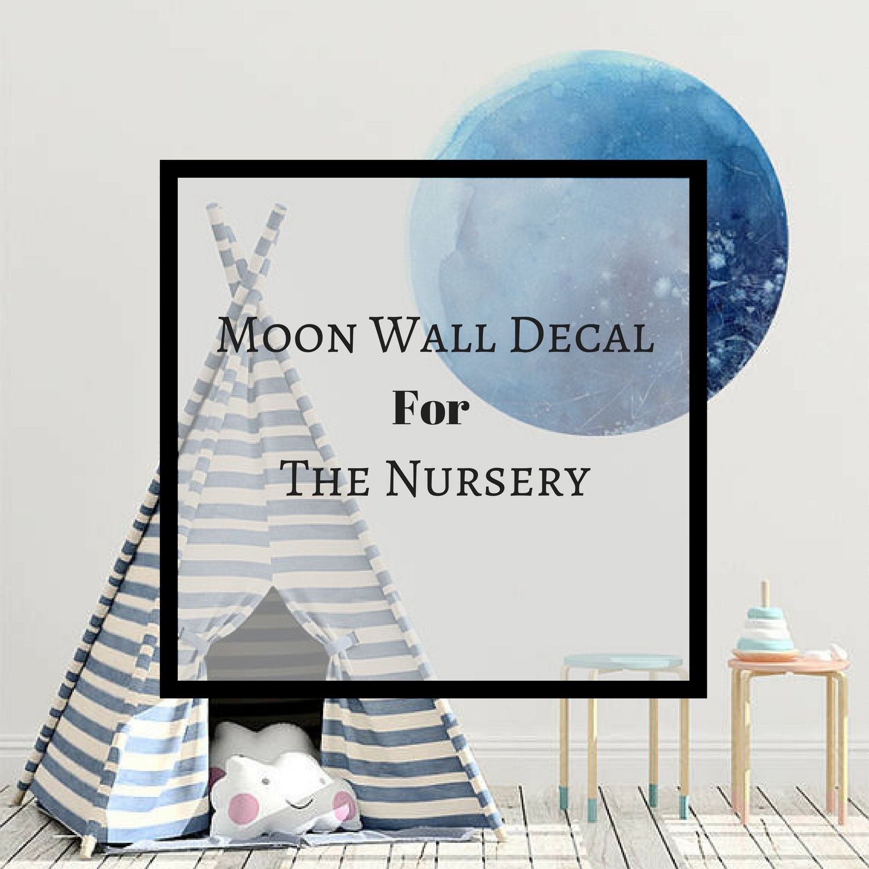Watercolor wall decal moon wall art decor wall sticker nursery