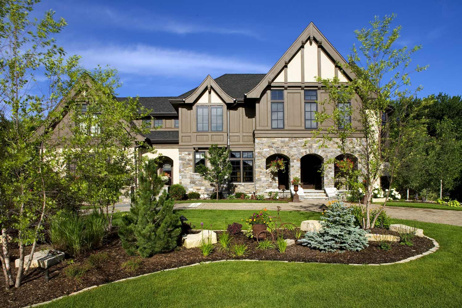 Luxury permeable paver driveway Minneapolis MN landscaping ... on Luxury Front Yard Landscape id=61356