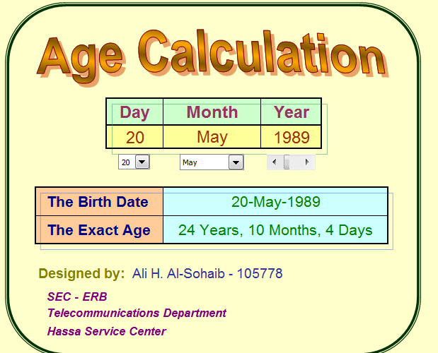 Find Out Age in Years, Months and Days - Using Age