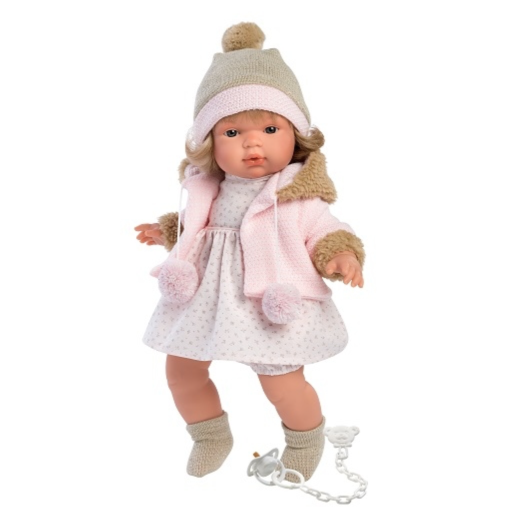 Llorens Spanish Doll - Hannah #spanishdolls Brand:LlorensBody:Soft BodiedSize: 15″ (38cm)Made in: SpainComes with: Dummy, Chain, Outfit Actions:Cries when dummy is taken away. #spanishdolls